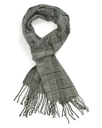 Topman Houndstooth Plaid Scarf Black One Size