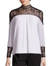 White and Black Lace Blouse