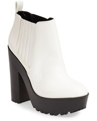 White and Black Leather Ankle Boots