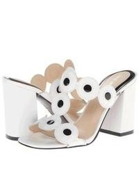 White and Black Leather Heeled Sandals