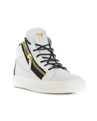 White and Black Leather High Top Sneakers