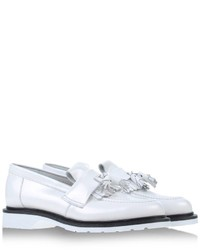 White and Black Leather Loafers