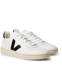 Veja V 10 Rubber Trimmed Leather Sneakers