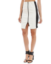 White and Black Leather Pencil Skirt