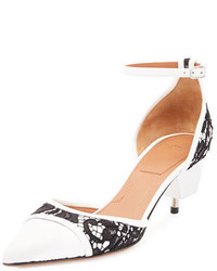 Givenchy Lace Leather Screw Heel Pump Blackwhite