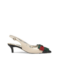 Gucci Leather Sling Back Pump With Web Bow