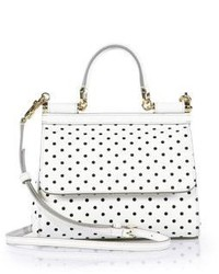 White and Black Leather Satchel Bag