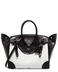Ralph Lauren Ricky 33 Bicolor Leather Satchel Bag Whiteblack