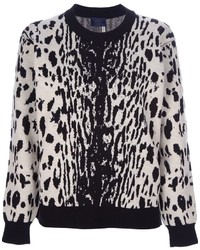 White and Black Leopard Crew-neck Sweater