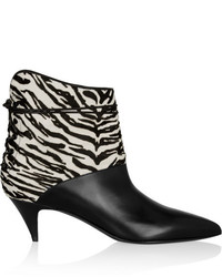Saint Laurent Cat Zebra Print Calf Hair And Leather Ankle Boots
