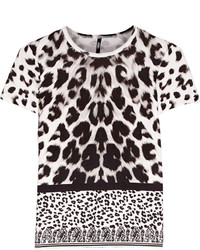 White and Black Leopard Short Sleeve Blouse