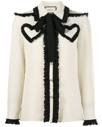 White and black long sleeve blouse original 10022468