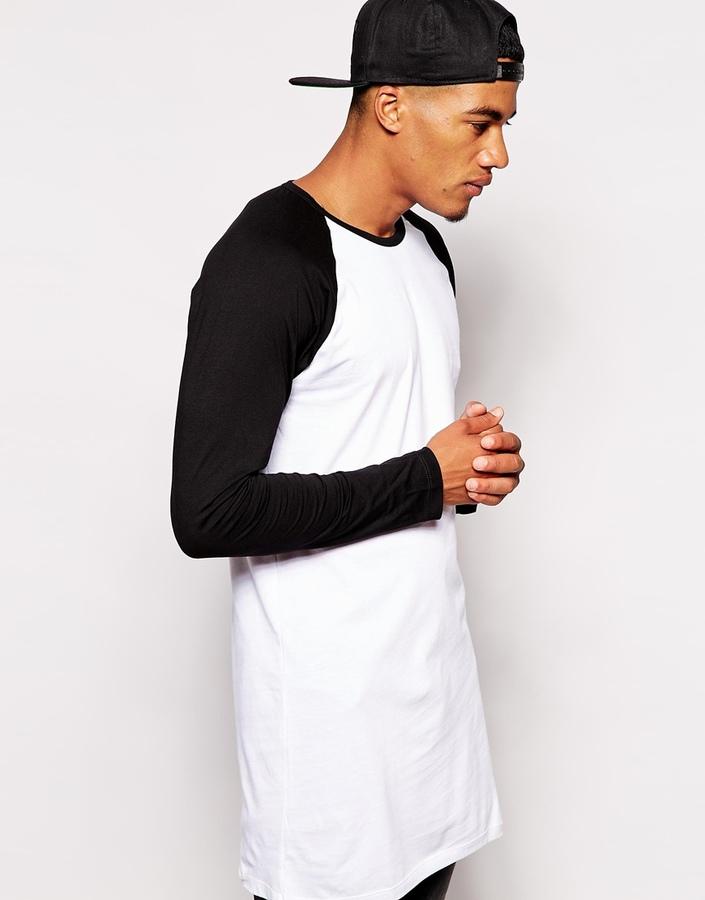 ... Asos Brand Super Longline Long Sleeve T Shirt With Contrast Raglan  Sleeves ... 6961fbc8537
