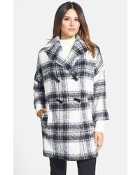 Pink Tartan Plaid Double Breasted Coat
