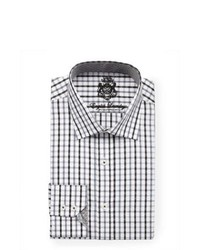 White and Black Plaid Dress Shirt