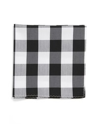 White and Black Plaid Pocket Square