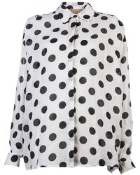White and Black Polka Dot Button Down Blouse