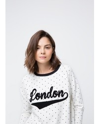 White and Black Polka Dot Crew-neck Sweater