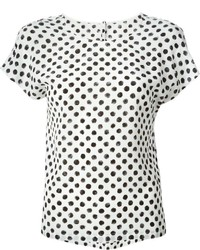 White and Black Polka Dot Crew-neck T-shirt