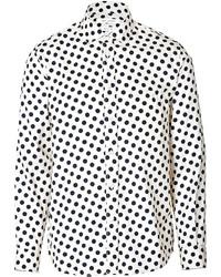 White and Black Polka Dot Long Sleeve Shirt
