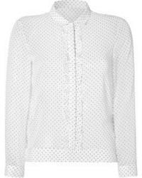 White and Black Polka Dot Long Sleeve T-shirt