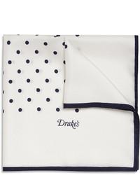 Drakes polka dot silk pocket square medium 142458