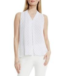 Polka dot pleat front v neck blouse medium 565006