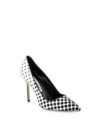 White and Black Polka Dot Suede Pumps