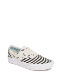White and Black Print Canvas Low Top Sneakers