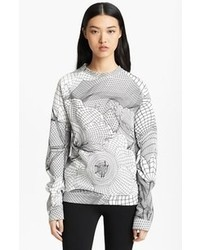 White and Black Print Crew-neck Sweater
