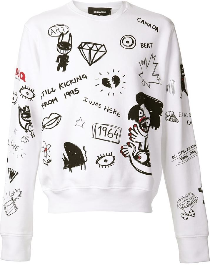 DSQUARED2 Mixed Graphic Sweat Shirt   Where to buy   how to wear 84522b4b23b