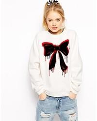 Love Moschino Sweatshirt With Dripping Bow Print White