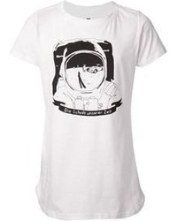 White and Black Print Crew-neck T-shirt
