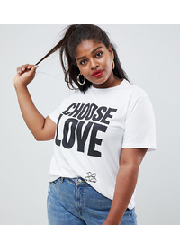 Asos Curve Help Refugees Choose Love Curve T Shirt In White Organic Cotton