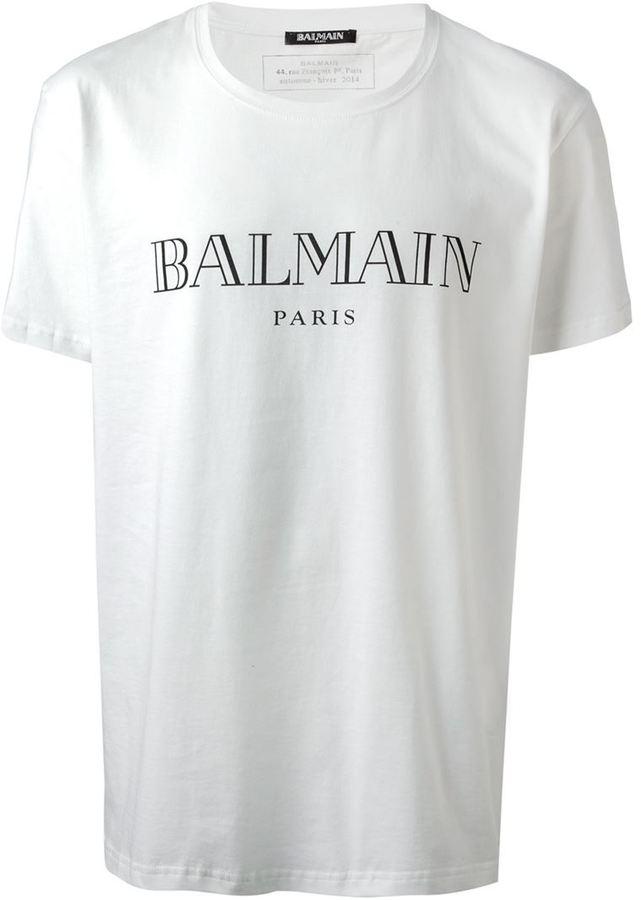 7b80e355916c64 Balmain Logo Print T Shirt, £149 | farfetch.com | Lookastic UK