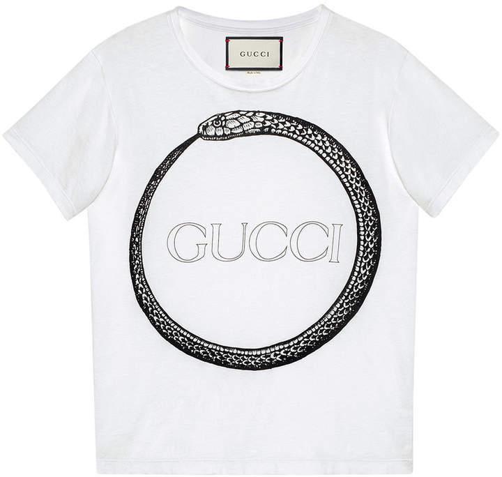 920595b6bea ... White and Black Print Crew-neck T-shirts Gucci Ouroboros Print T Shirt  ...