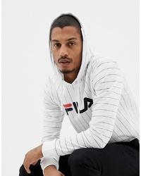 8f7b6fe02b Fila Black Line Mario Striped Long Sleeve T Shirt With Hood In White