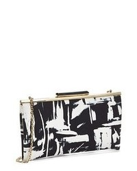 White and Black Print Leather Clutch