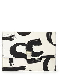 Large printed lunch bag clutch blackwhite medium 99936