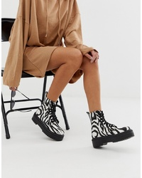 ASOS DESIGN Attitude Chunky Lace Up Boots In Zebra