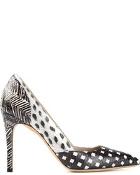 White and Black Print Leather Pumps