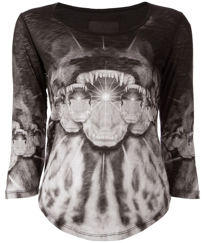Les Claires Animal Print Long Sleeve Top