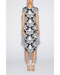 White and Black Print Midi Dress
