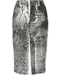 White and Black Print Pencil Skirt