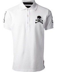 White and Black Print Polo
