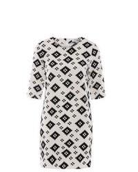 White and Black Print Shift Dress