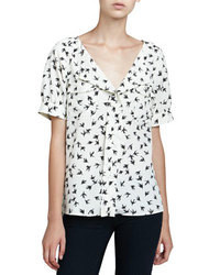 White and Black Print Short Sleeve Blouse