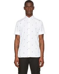 White and Black Print Short Sleeve Shirt