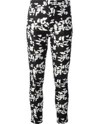 White and Black Print Skinny Pants