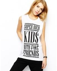 Sleeveless boyfriend t shirt with super rich print white medium 25860